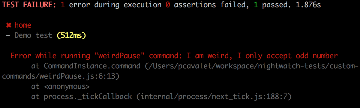 Exemple test failure