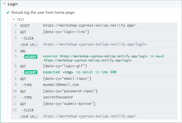 Commandes Cypress.js