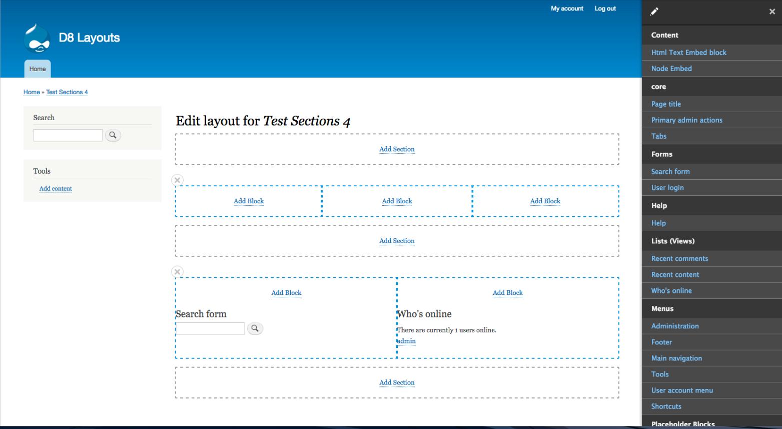 Gestionnaire de modèle de pages Layout Builder de Drupal