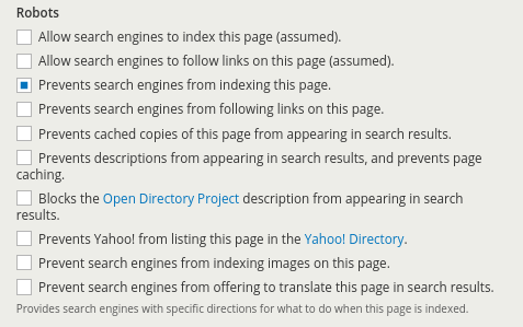 Désindexer une page sur Drupal