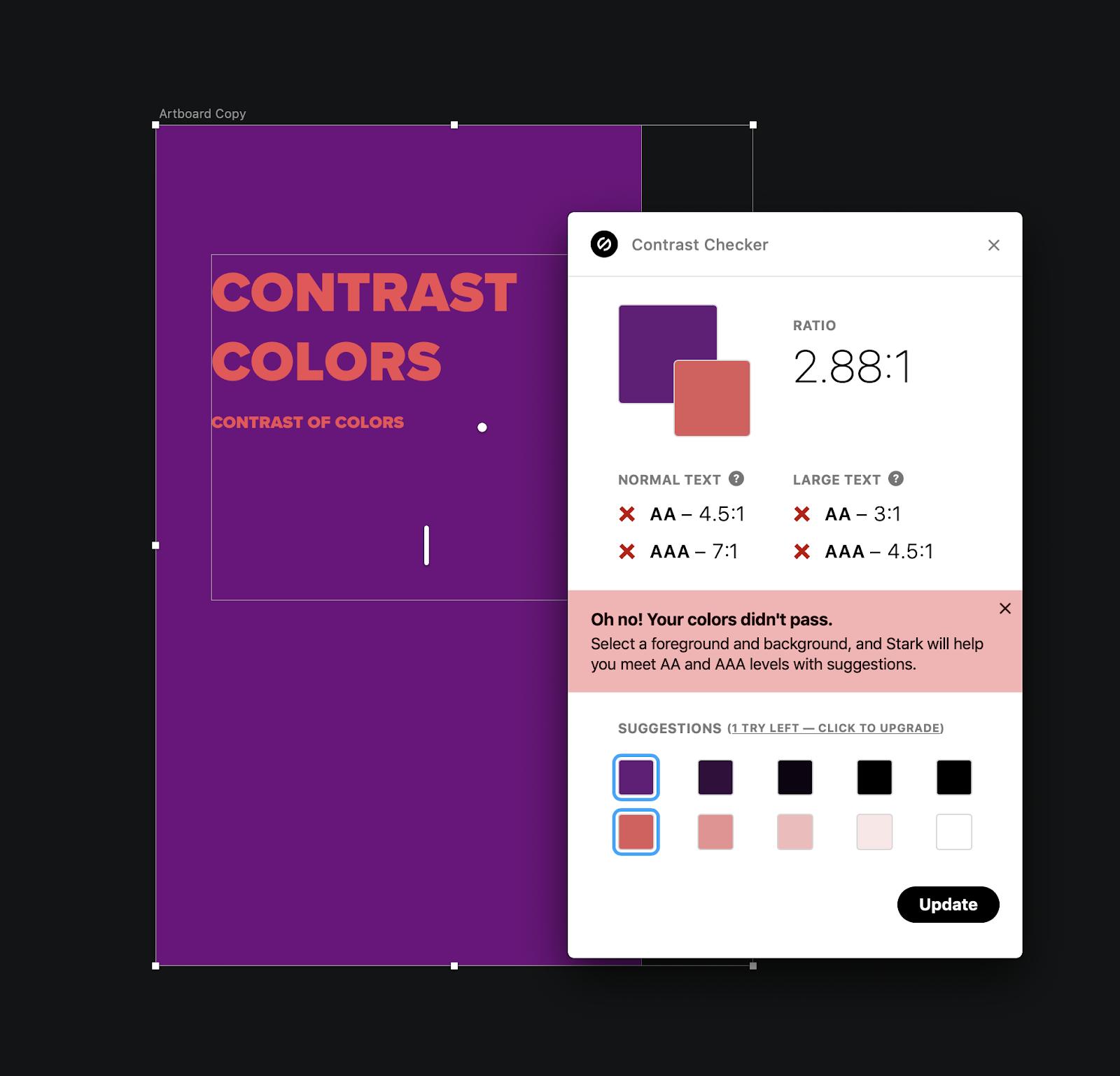la fonctionnalité suggestion de couleurs de Stark pour assurer l'accessibilité web