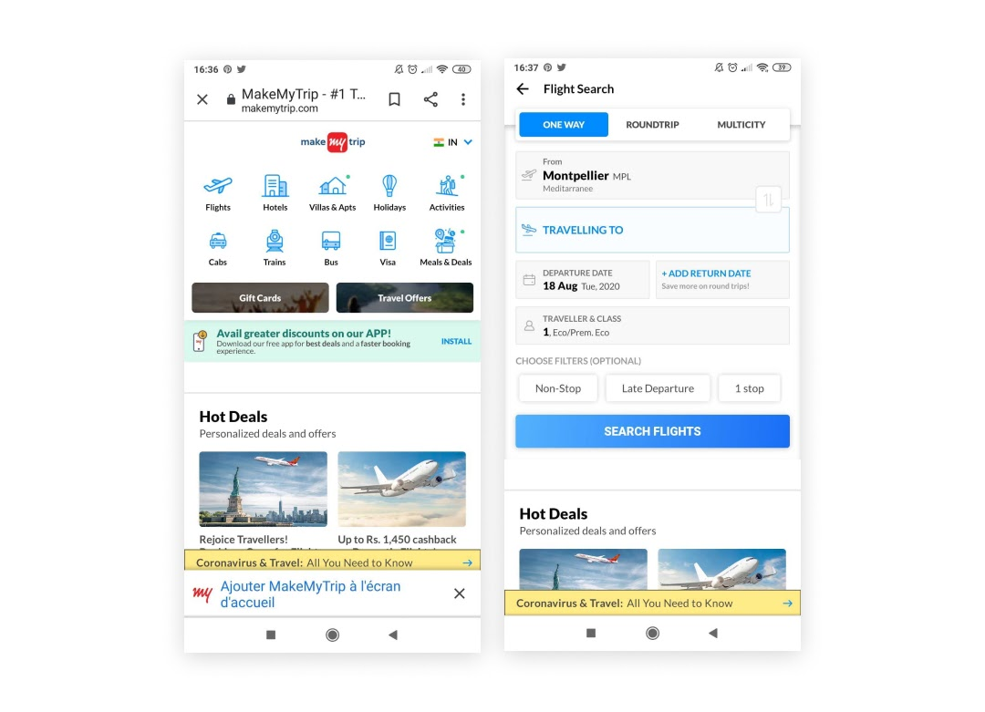 L'exemple PWA de Makemytrip