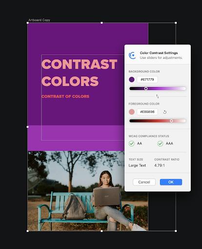 La vérification des contrastes avec Cluse de Sketch pour assurer l'accessibilité web