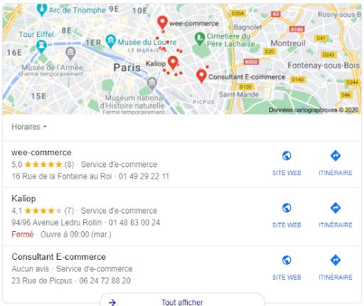 le format Local pack sur Google my Business