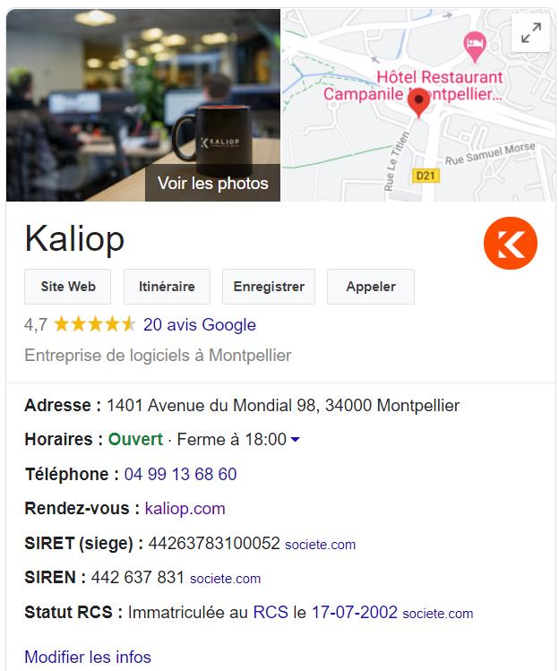 la fiche google my business de Kaliop